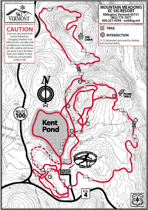 Mountain Meadows Cross Country Ski Area Cross Country Skiing Map