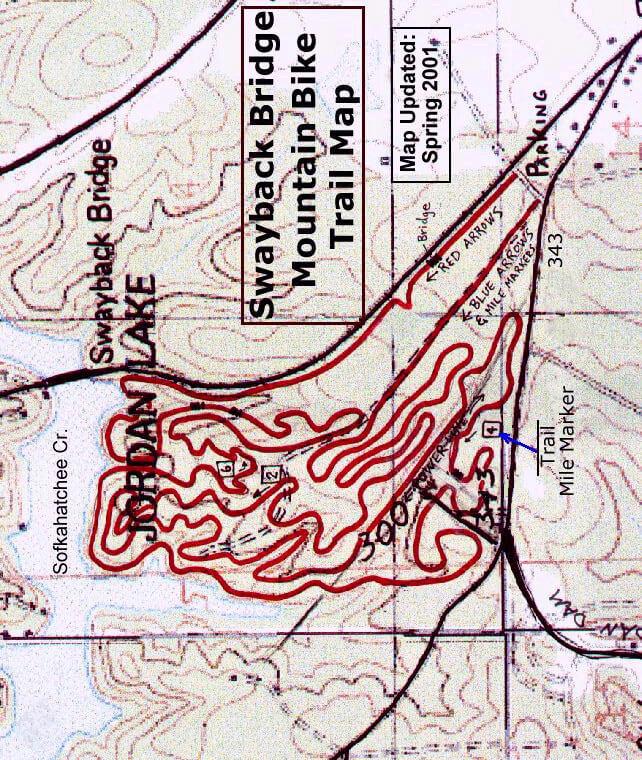 Swayback Bridge Trail Mountain Biking Map