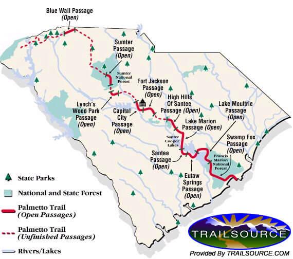 Palmetto Trail Mountain Biking Map