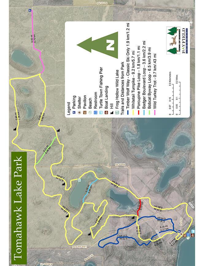Tomahawk Lake Ski Trail Cross Country Skiing Map