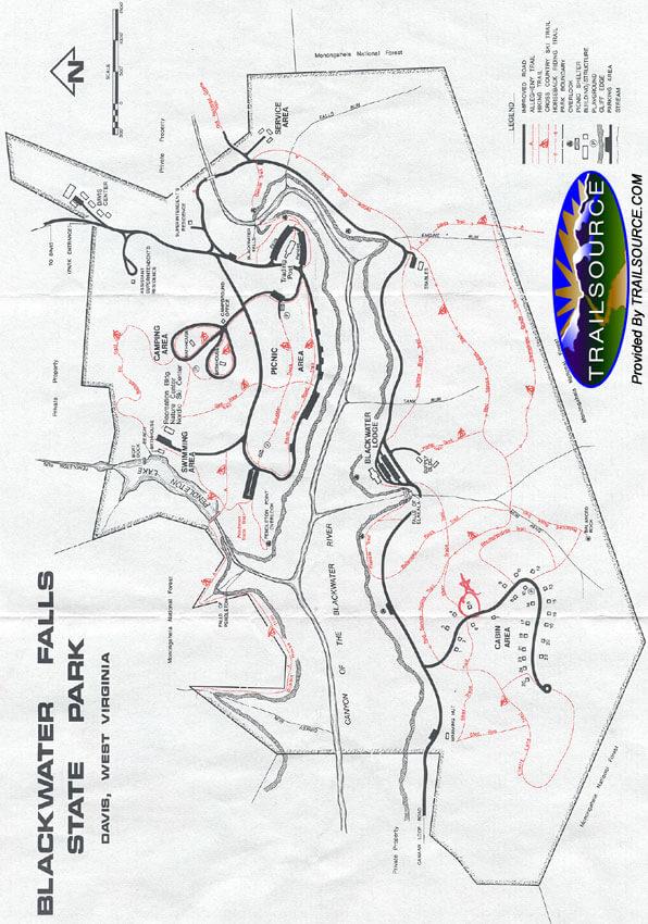 Blackwater Falls State Park Mountain Biking Map