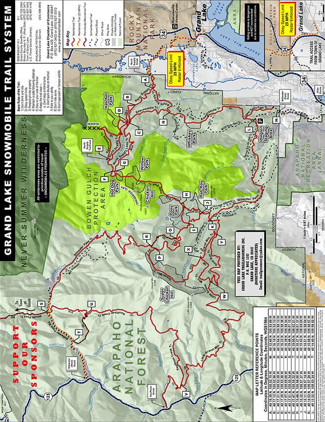 Grand Lake Snowmobile Trail System Snowmobiling Map