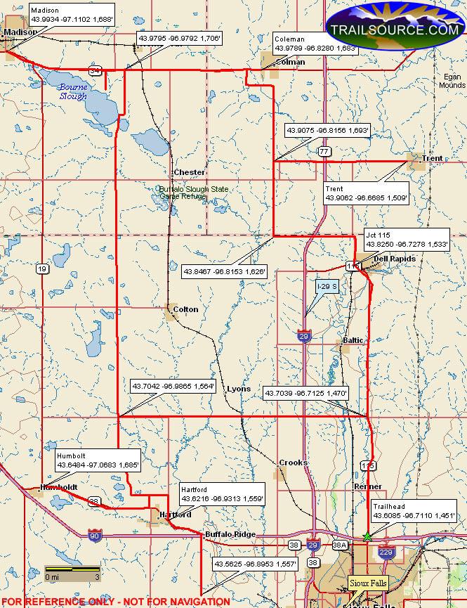 Siouxland Trail Snowmobiling Map