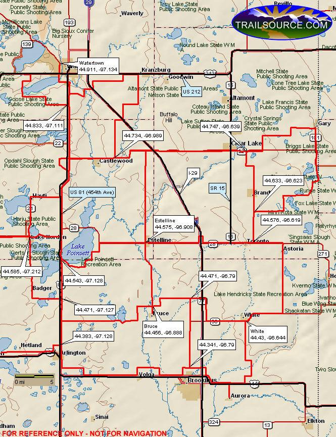Coteau Des Prairie Trail Snowmobiling Map