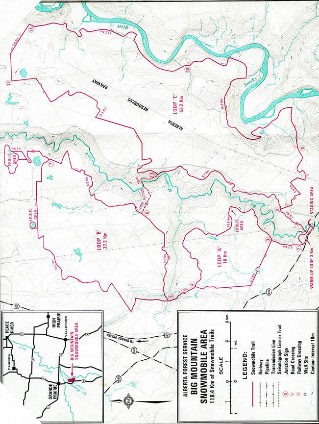 Grande Prairie Snowmobiling Map