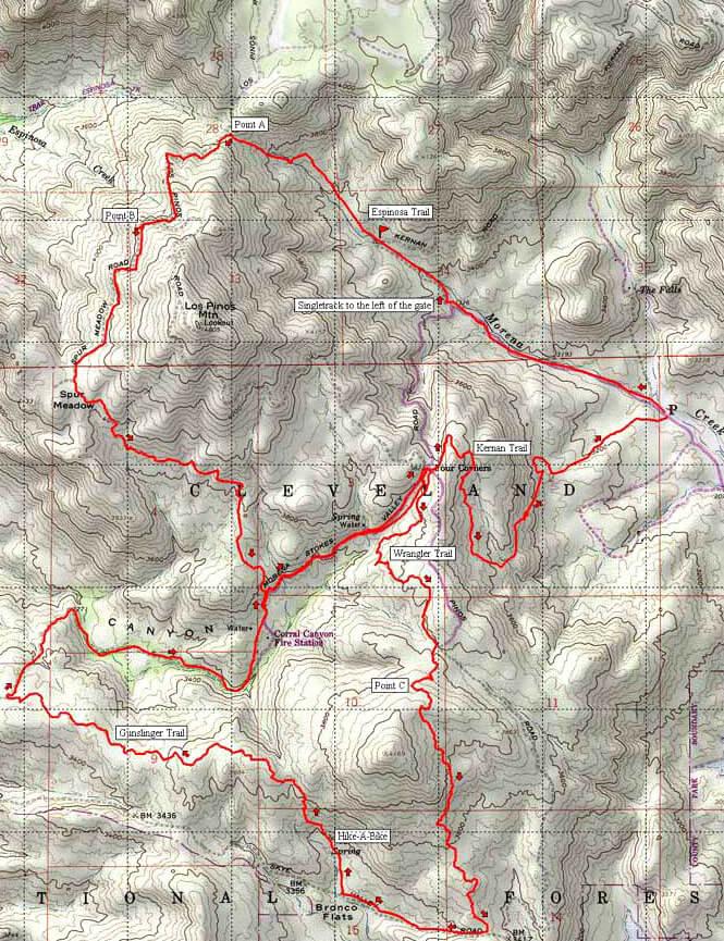 Lake Morena / Corral Canyon Mountain Biking Map