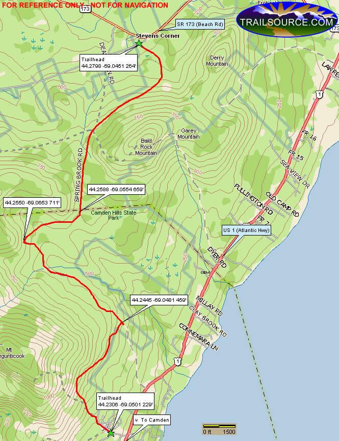 Camden Hills State Park Snowmobiling Map