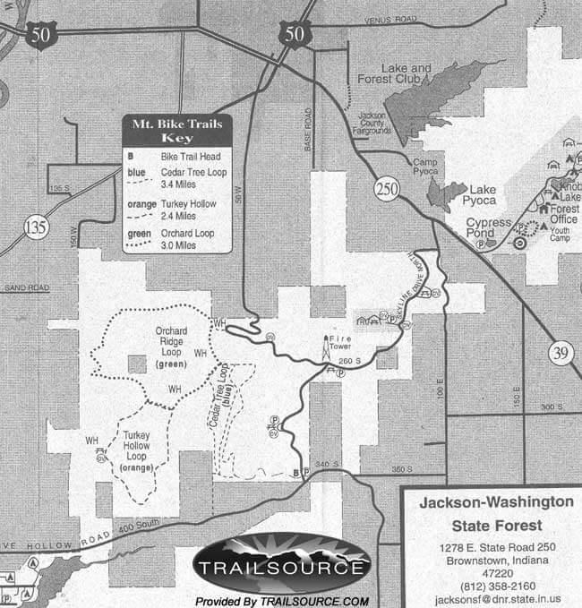 Jackson-Washington State Forest Mountain Biking Map