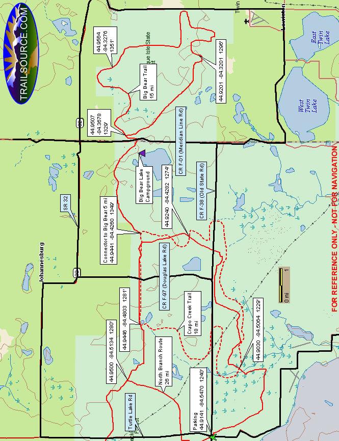Big Bear ORV Trail ATV Trails Map