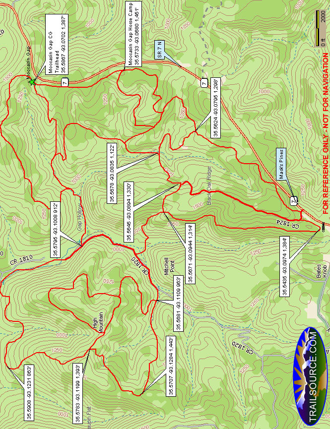 Moccasin Gap Trail ATV Trails Map
