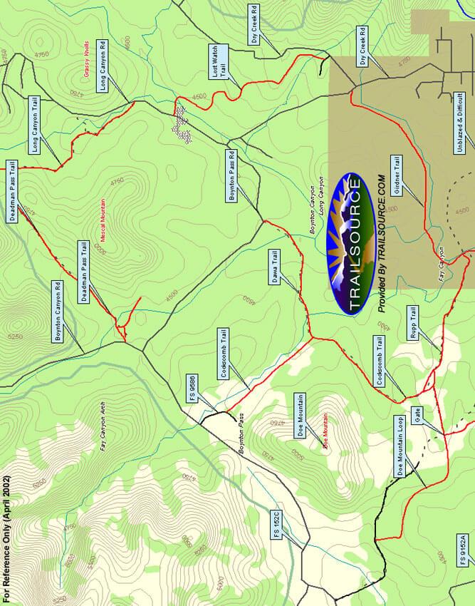 Deadmans Pass Loop Mountain Biking Map