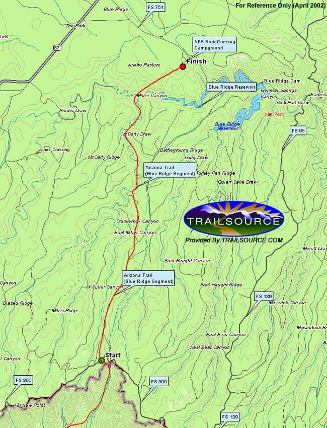 Arizona Trail - Blue Ridge Section Hiking Map