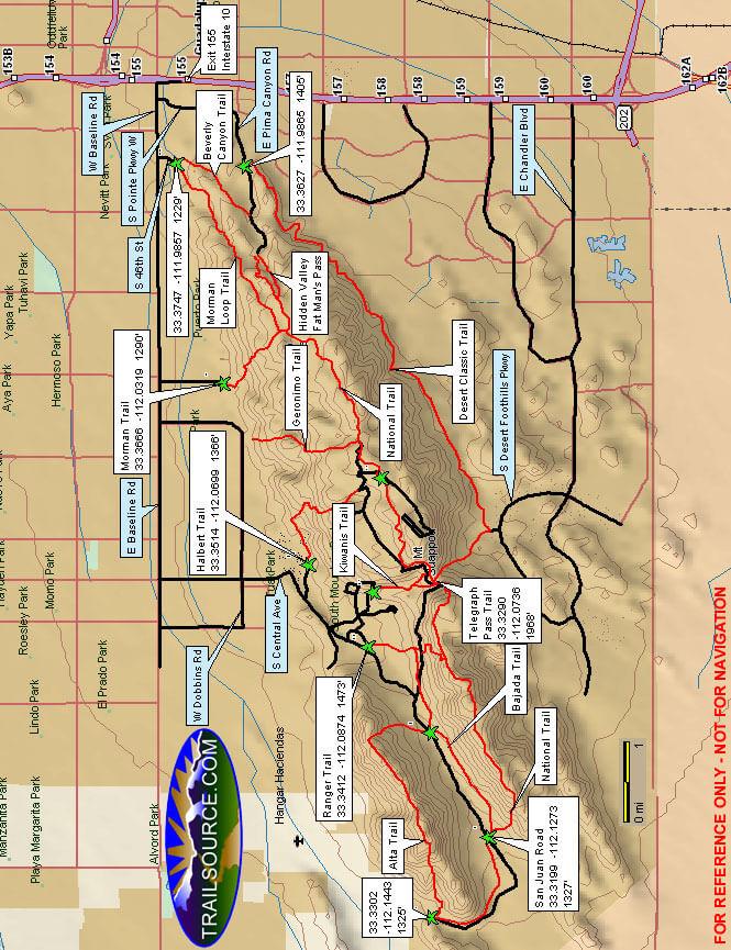 South Mountain Park Mountain Biking Map