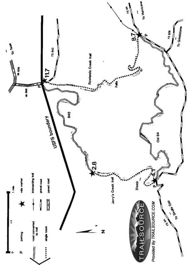 Rowlands Creek Falls Circuit Trail Mountain Biking Map