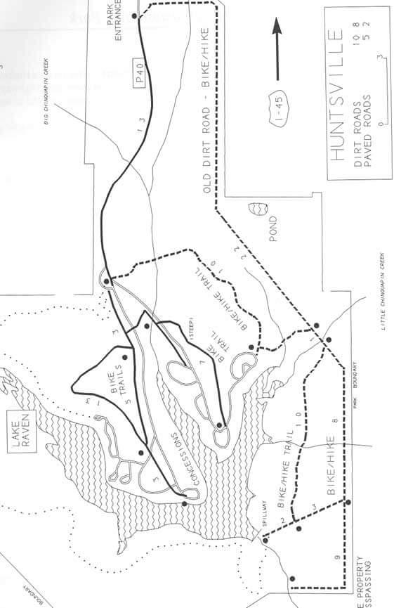 Huntsville State Park Mountain Biking Map
