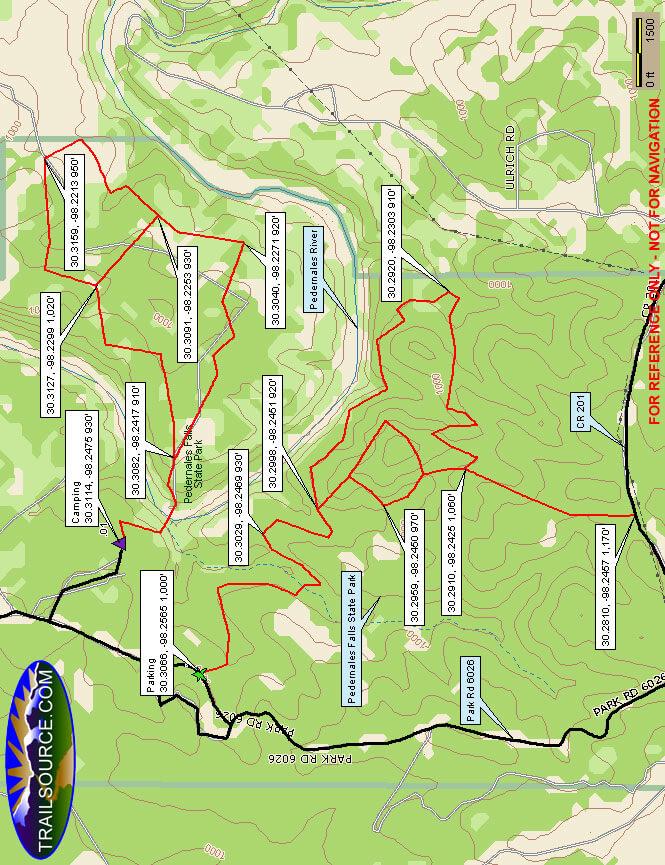 Pedernales Falls State Park Mountain Biking Map