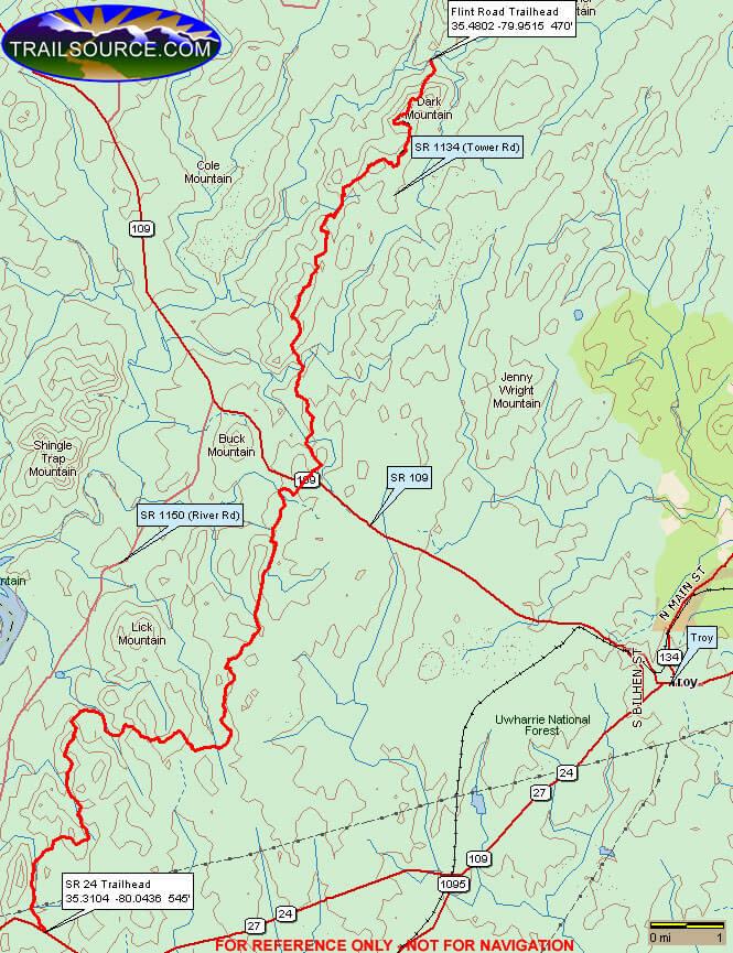 Uwharrie Trail Hiking Map