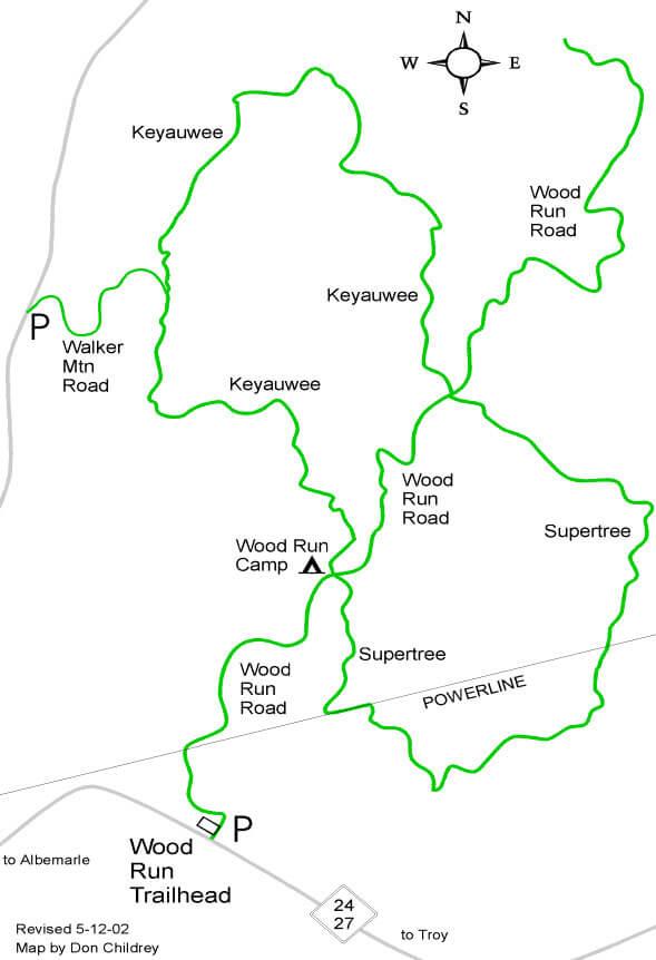 Wood Run Trail System Mountain Biking Map