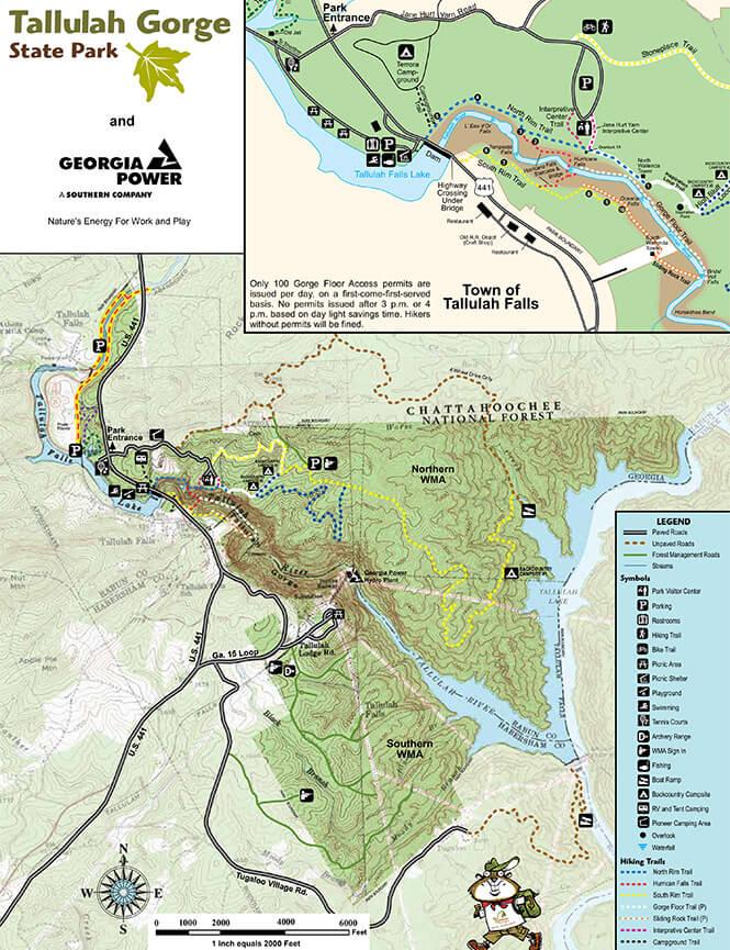 Tallulah Gorge State Park Mountain Biking Map