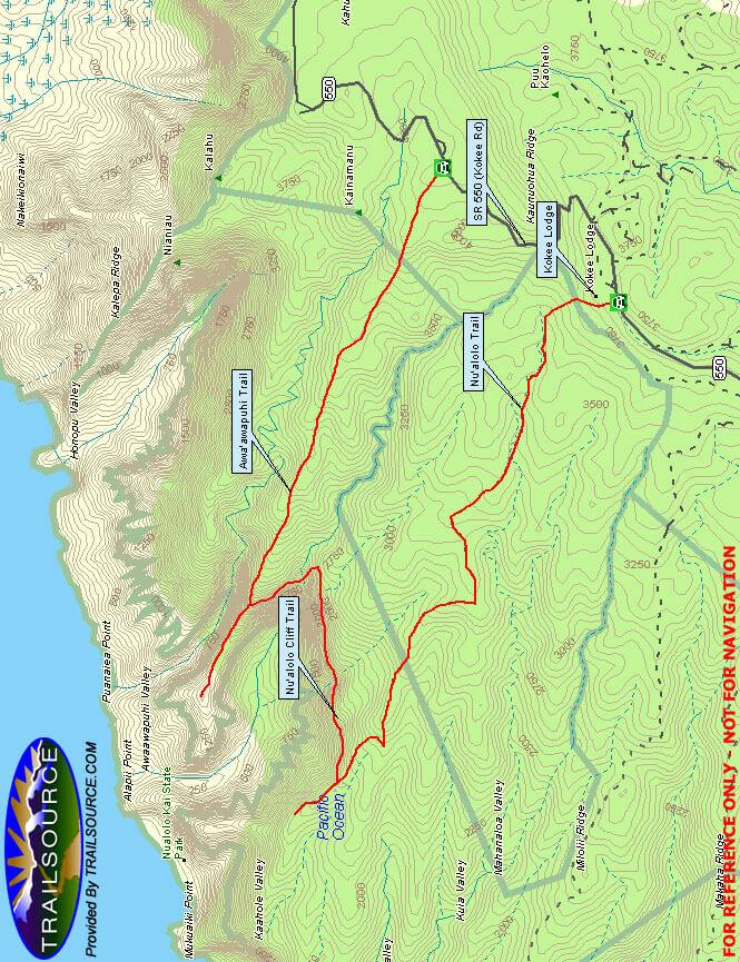 Nu alolo Trail / Awaawapuhi Loop Hiking Map