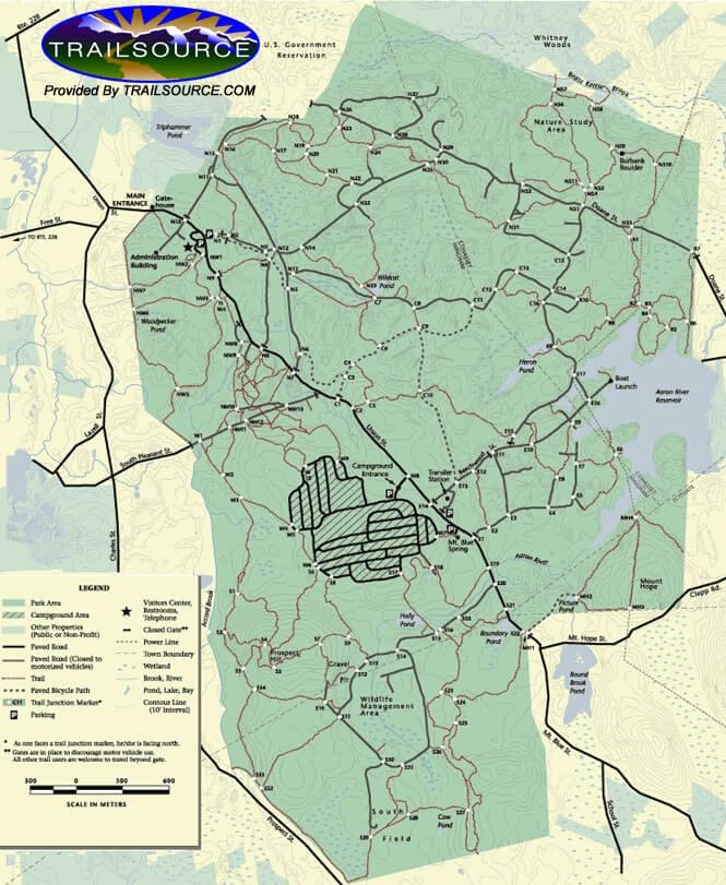 Wompatuck State Park Mountain Biking Map