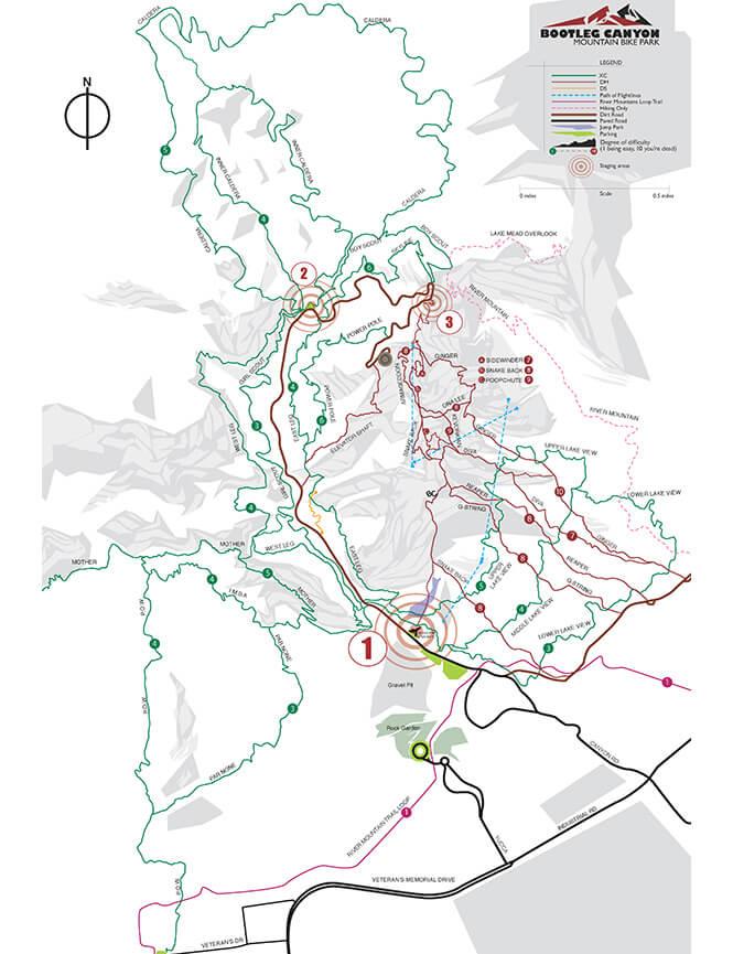 Bootleg Canyon Mountain Bike Park Mountain Biking Map