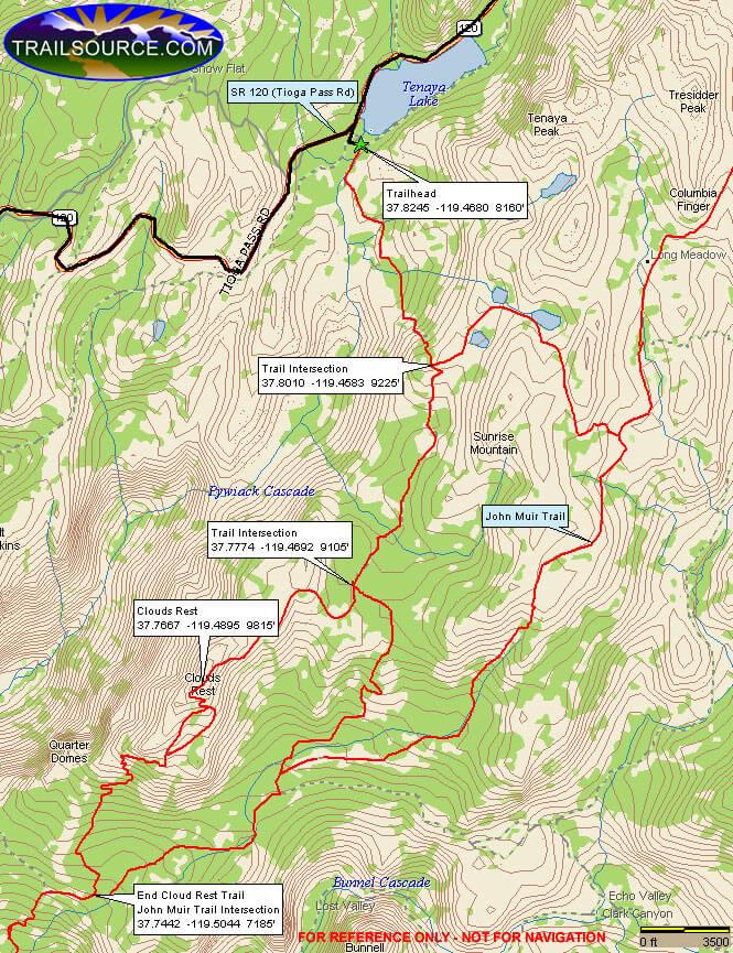 Tenaya Lake To Clouds Rest Hiking Map