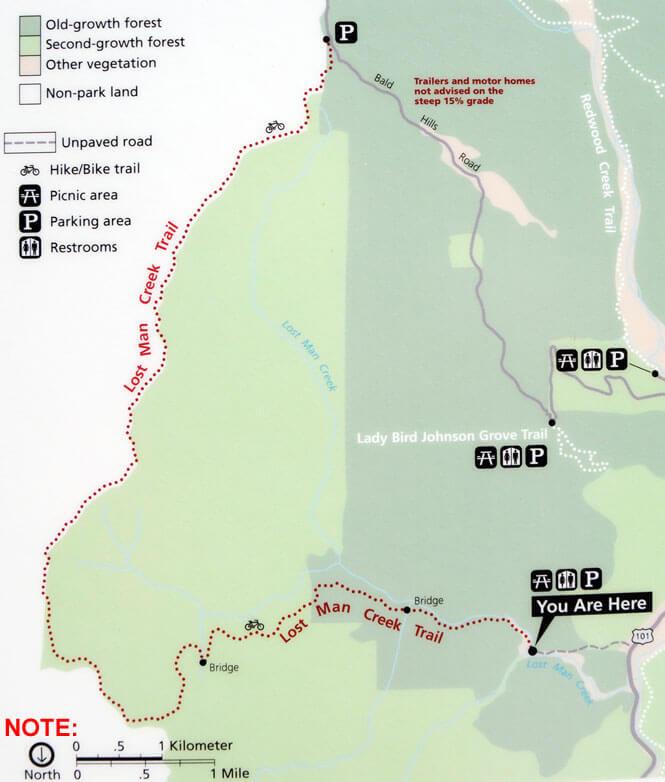 Lost Man Creek / Holter Ridge Trail Hiking Map