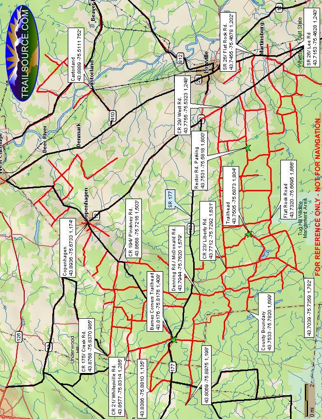 Lowville West - Barnes Corners ATV Trails Map