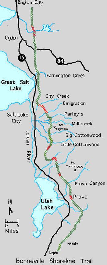 Bonneville Shoreline Trail Mountain Biking Map