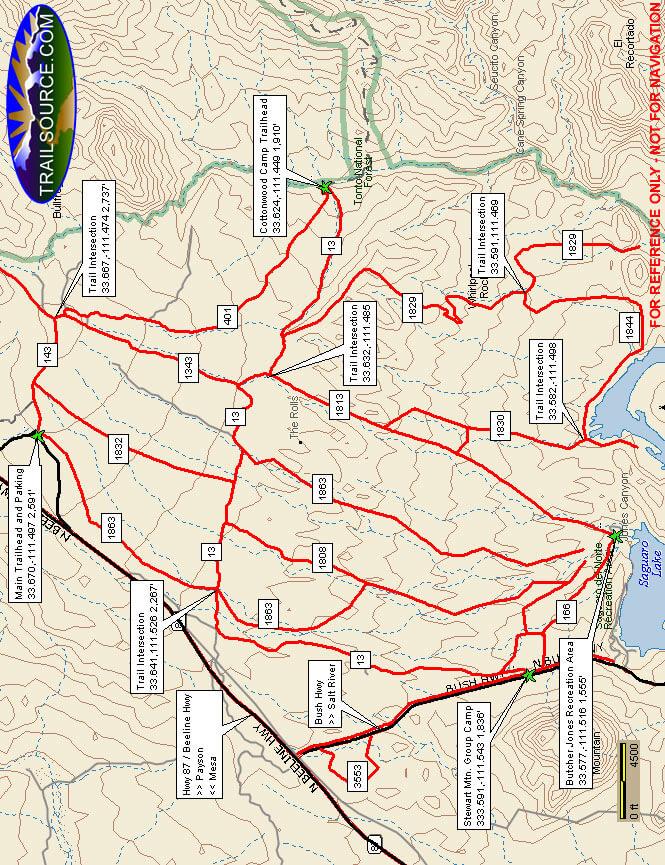 Four Peak Rolls OHV Area ATV Trails Map