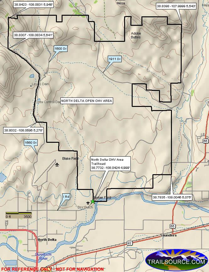 North Delta OHV Area ATV Trails Map