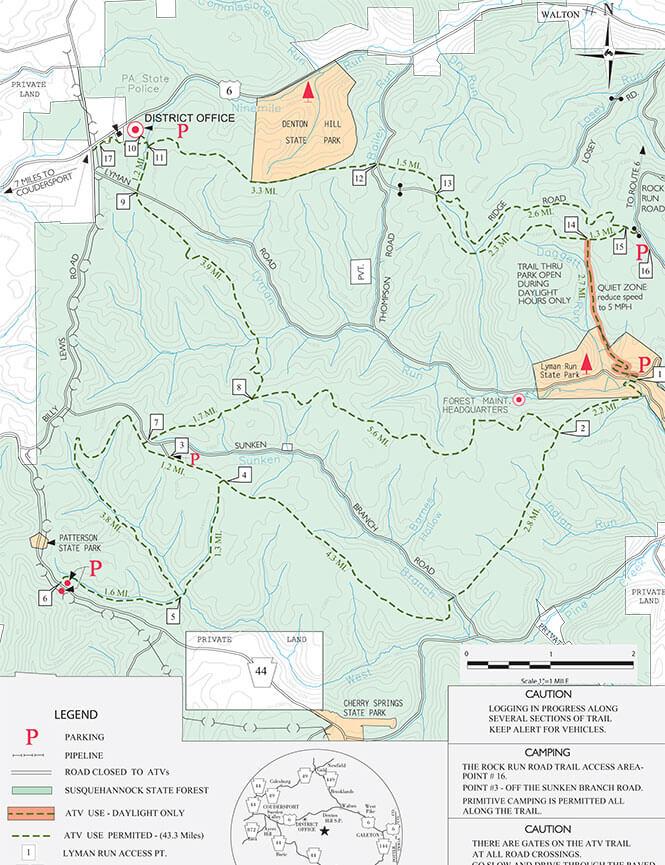 Susquehannock State Forest ATV Trails Map