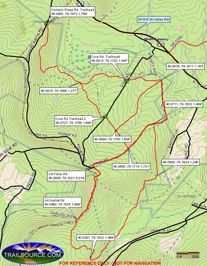 Sideling Hill ATV Area ATV Trails Map