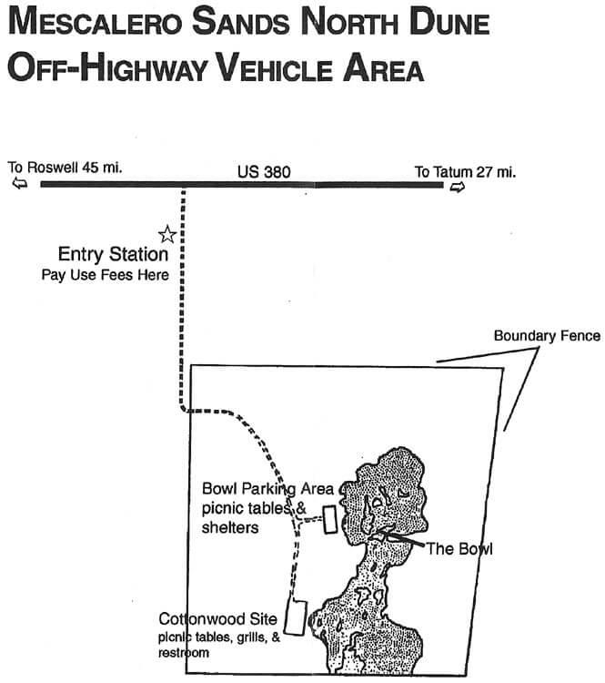 Mescalero Sands North Dunes OHV Area ATV Trails Map