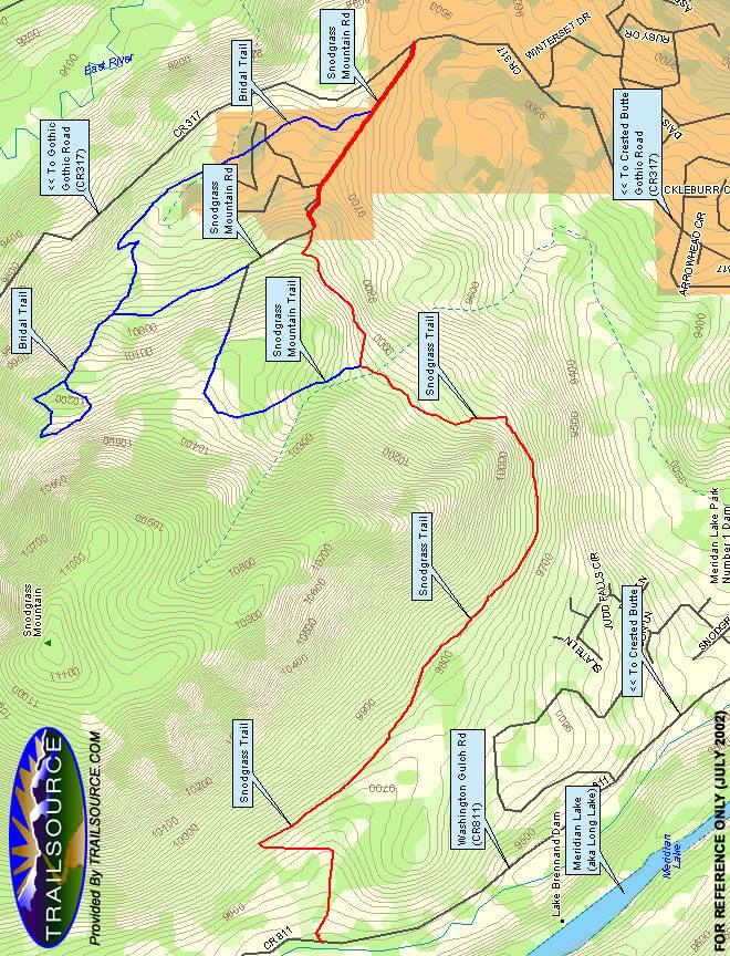Snodgrass Trail Hiking Map