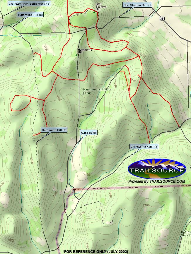Hammond Hill State Forest Mountain Biking Map