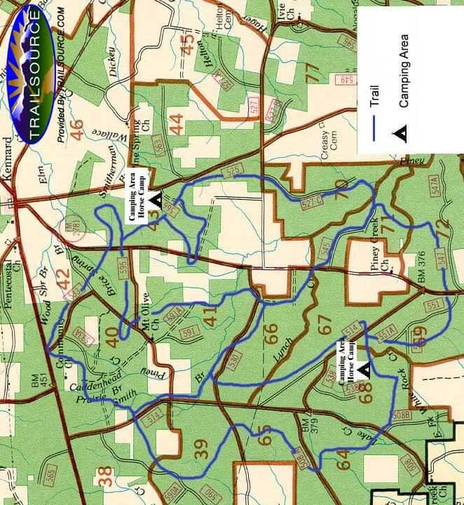 Piney Creek Horseback Riding Map