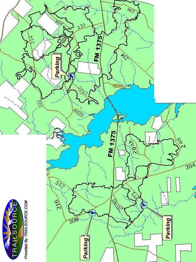 Sam Houston National Forest Mountain Biking Map