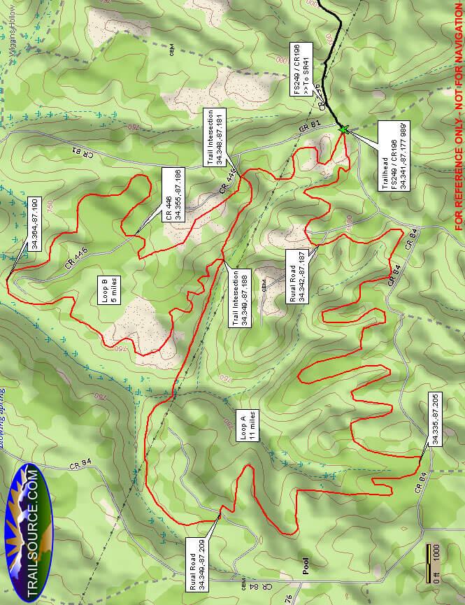 Flint Creek Multi-Use Trail Horseback Riding Map