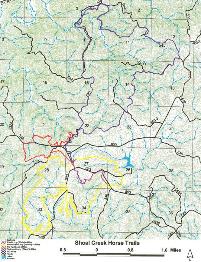 Shoal Creek Horse Trail Horseback Riding Map