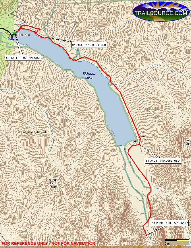Eklutna Lakeside Bike Trail Mountain Biking Map