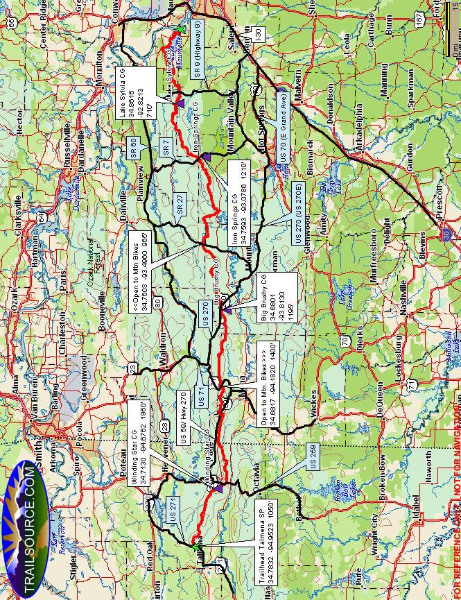 Ouachita National Recreation Trail Mountain Biking Map