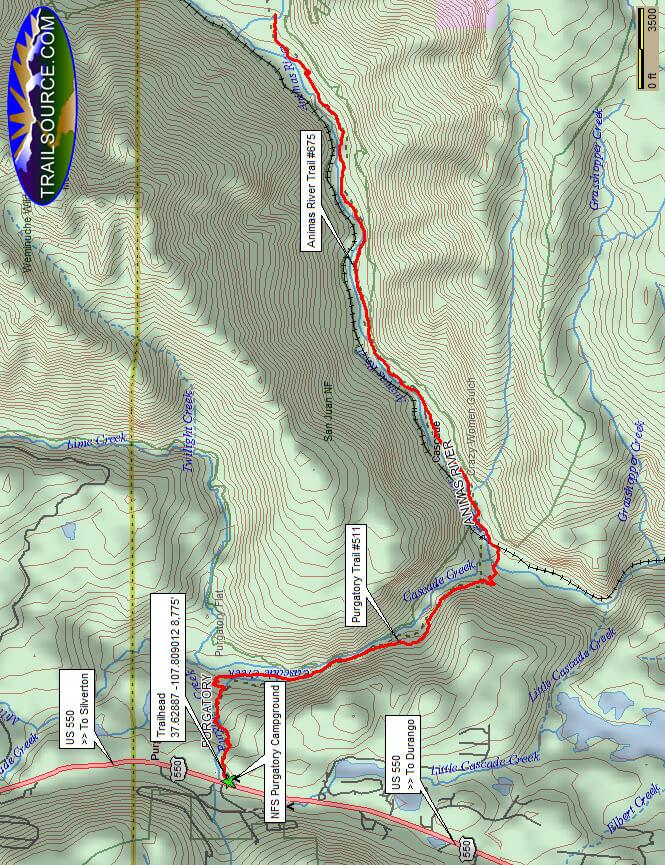 Animas River Horse Trail Horseback Riding Map