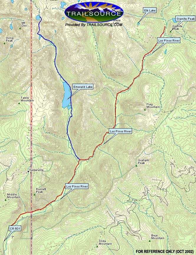 Pine River Trail / Los Pinos River Horseback Riding Map