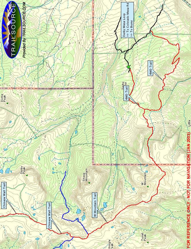 W Mountain Trail Horseback Riding Map