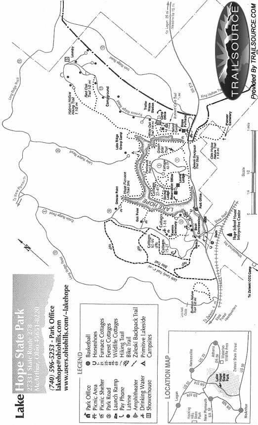 Lake Hope State Park Horseback Riding Map