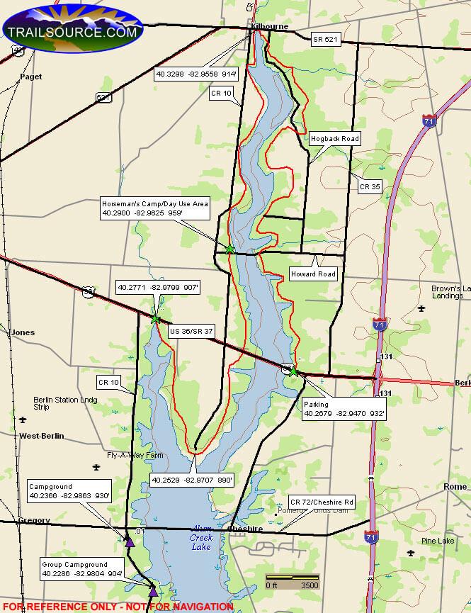 Alum Creek State Park Hiking Map