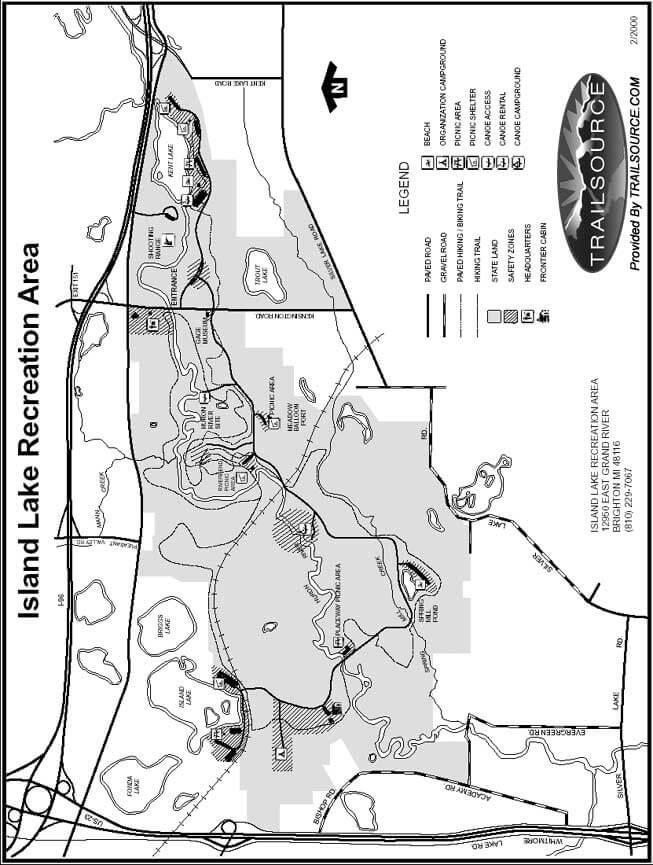 Island Lake Recreation Area Hiking Map