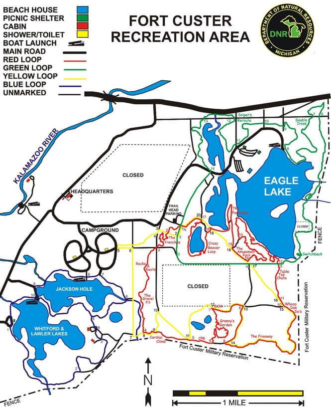 Fort Custer Recreation Area Mountain Biking Map